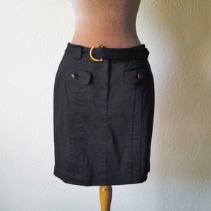 JONES NEW YORK Black Stretch Cotton Skirt Sz 8